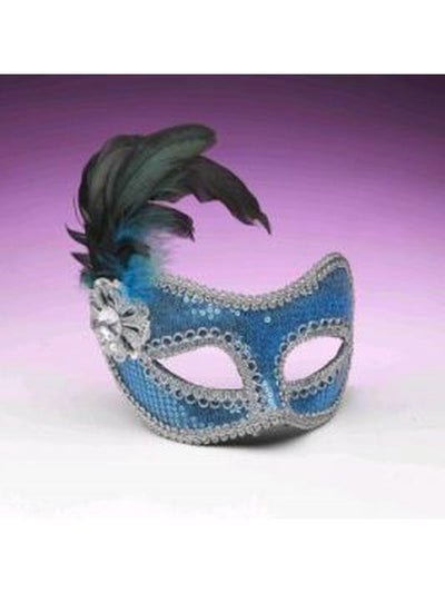 Turquoise Sequin Mask-Masks - Masquerade-Jokers Costume Hire and Sales Mega Store