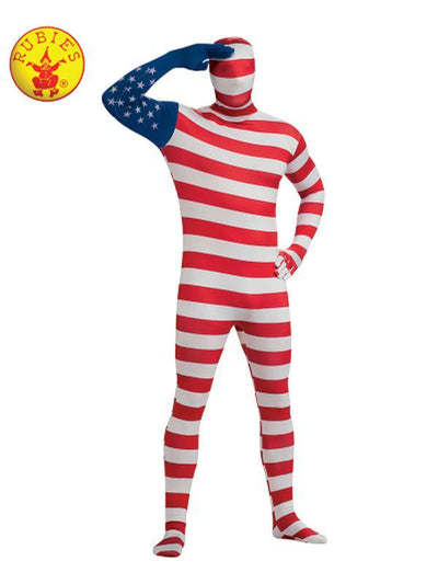 USA FLAG 2ND SKIN SUIT - SIZE XL-Costumes - Mens-Jokers Costume Hire and Sales Mega Store