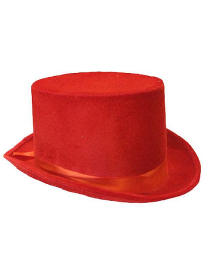 Velvet Top Hat - Red-Hats and Headwear-Jokers Costume Mega Store