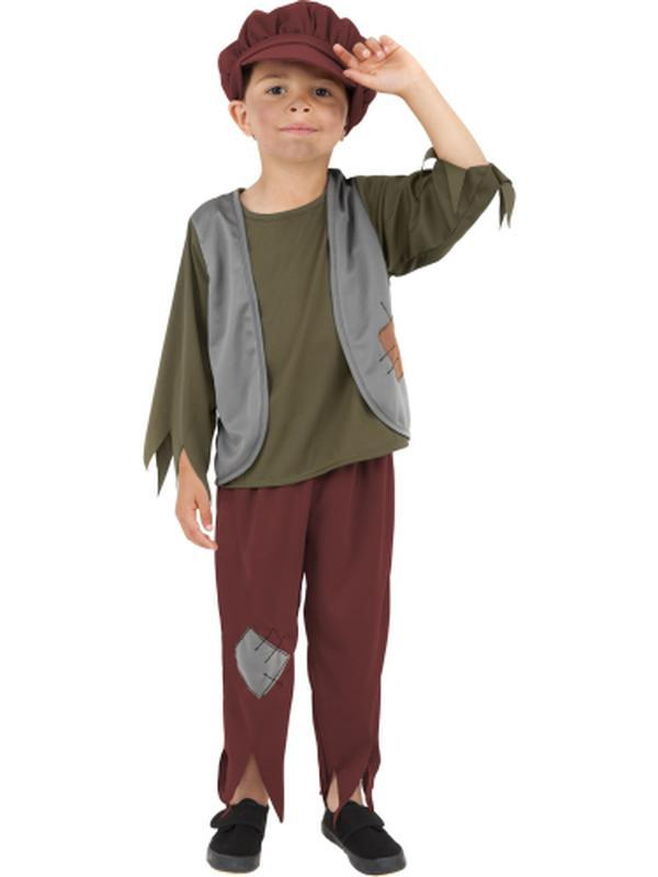 Victorian Poor Boy Costume - Green-Costumes - Boys-Jokers Costume Hire and Sales Mega Store