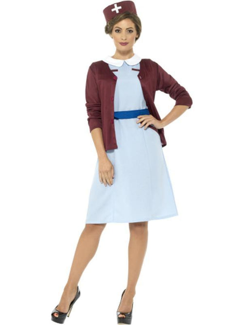 Vintage Nurse Costume with Cardigan-Costumes - Women-Jokers Costume Hire and Sales Mega Store