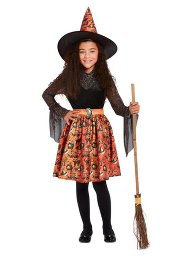Vintage Witch Costume, Orange, Child-Costumes - Girls-Jokers Costume Mega Store