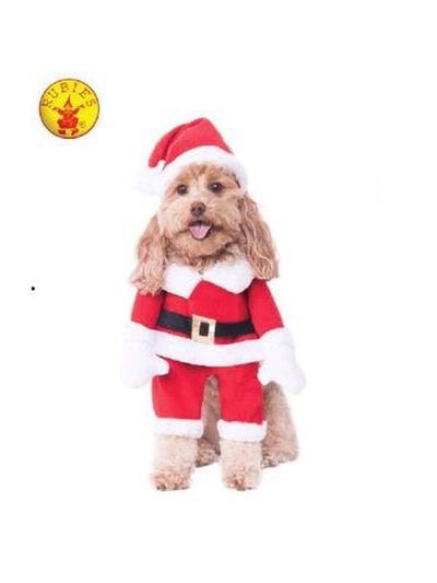 WALKING SANTA DELUXE PET COSTUME - SIZE S-Costumes - Pets-Jokers Costume Hire and Sales Mega Store
