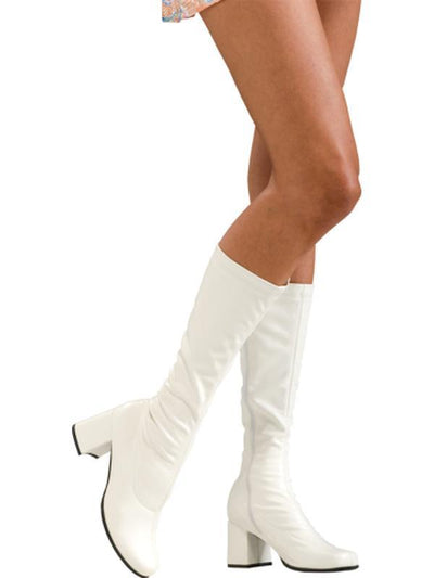 White Go Go Boots - Size 8-9 Ladies Us-Costume Accessories-Jokers Costume Hire and Sales Mega Store