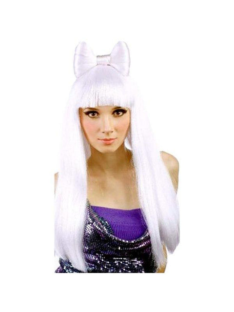 **White Long Wig w/Fringe & Bow - Gaga**-Wigs-Jokers Costume Hire and Sales Mega Store