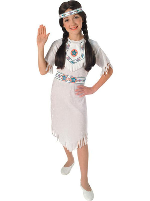 White Velvet Indian Girl - Size S-Costumes - Girls-Jokers Costume Hire and Sales Mega Store