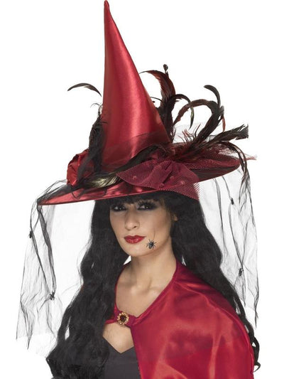Witch Hat - Deep Red-Eyewear-Jokers Costume Hire and Sales Mega Store