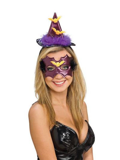 Witch Hat Headband & Eyemask Set Purple-Hats and Headwear-Jokers Costume Hire and Sales Mega Store
