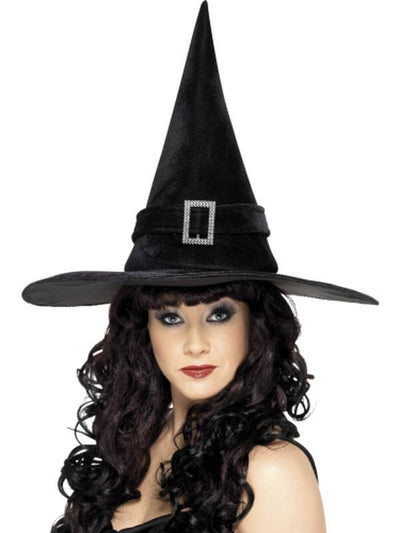 Witch Hat with Diamante Buckle-Hats and Headwear-Jokers Costume Hire and Sales Mega Store
