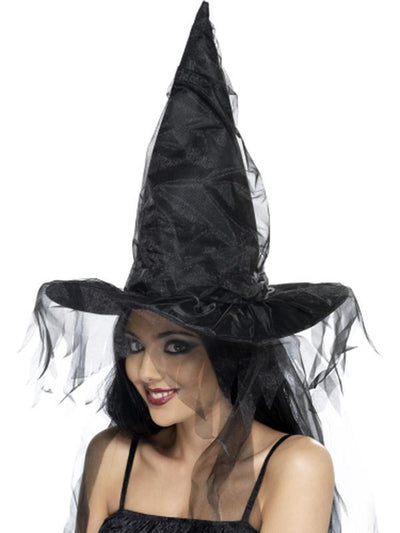 Witches Hat - Black with Netting-Hats and Headwear-Jokers Costume Hire and Sales Mega Store