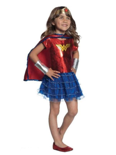 Wonder Woman Ruffle Tutu Dress Up Set - 4-6 Years-Costumes - Girls-Jokers Costume Hire and Sales Mega Store