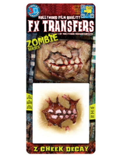 Zombie Cheek Decay - 3D FX Transfer - Small-Halloween Makeup & Special FX-Jokers Costume Hire and Sales Mega Store