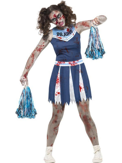 Zombie Cheerleader Costume, Blue-Costumes - Girls-Jokers Costume Hire and Sales Mega Store