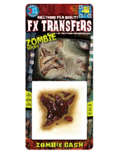 Zombie Gash 3D FX Transfer - Small-Halloween Makeup & Special FX-Jokers Costume Hire and Sales Mega Store