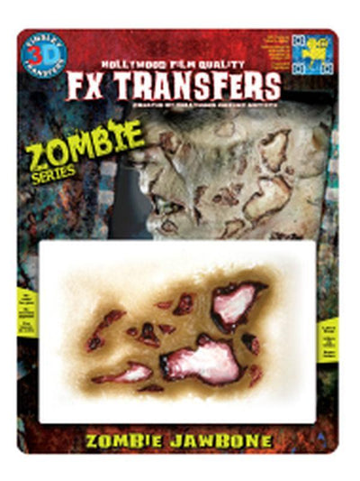 Zombie Jaw Bone 3D FX Transfer - Medium-Halloween Makeup & Special FX-Jokers Costume Hire and Sales Mega Store