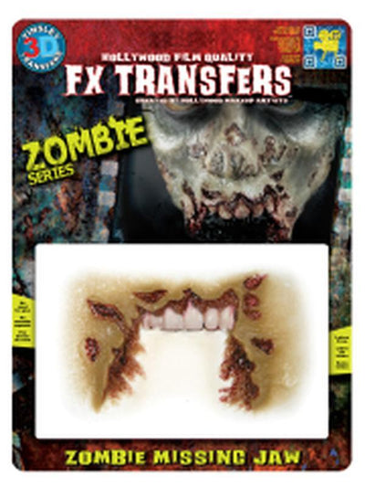 Zombie Missing Jaw 3D FX Transfer - Medium-Make up and Special FX-Jokers Costume Mega Store