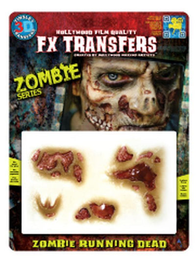 Zombie Running Dead 3D FX Transfer - Medium-Halloween Makeup & Special FX-Jokers Costume Hire and Sales Mega Store
