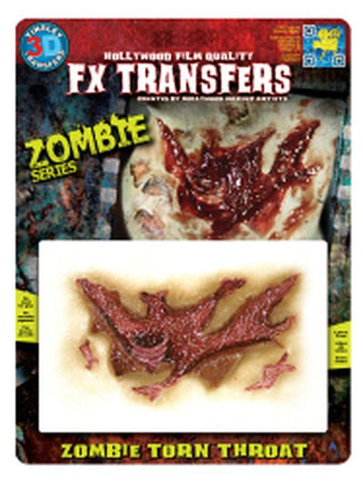 Zombie Torn Throat 3D FX Transfer - Medium-Halloween Makeup & Special FX-Jokers Costume Hire and Sales Mega Store