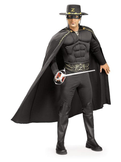 Zorro Deluxe Muscle Chest Adult - Size Xl-Costumes - Mens-Jokers Costume Hire and Sales Mega Store