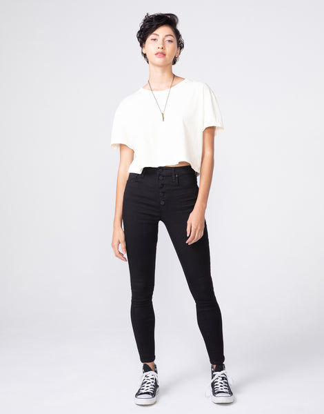 BOWIE Boxy Crop Tee in Cloud