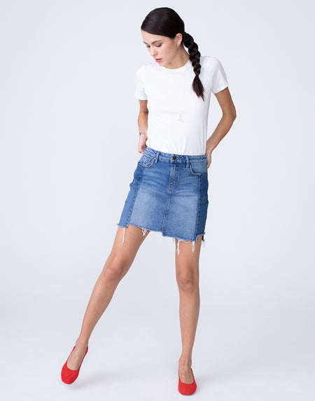 SADIE High Waist 5-pkt Mini Skirt in Two-Faced