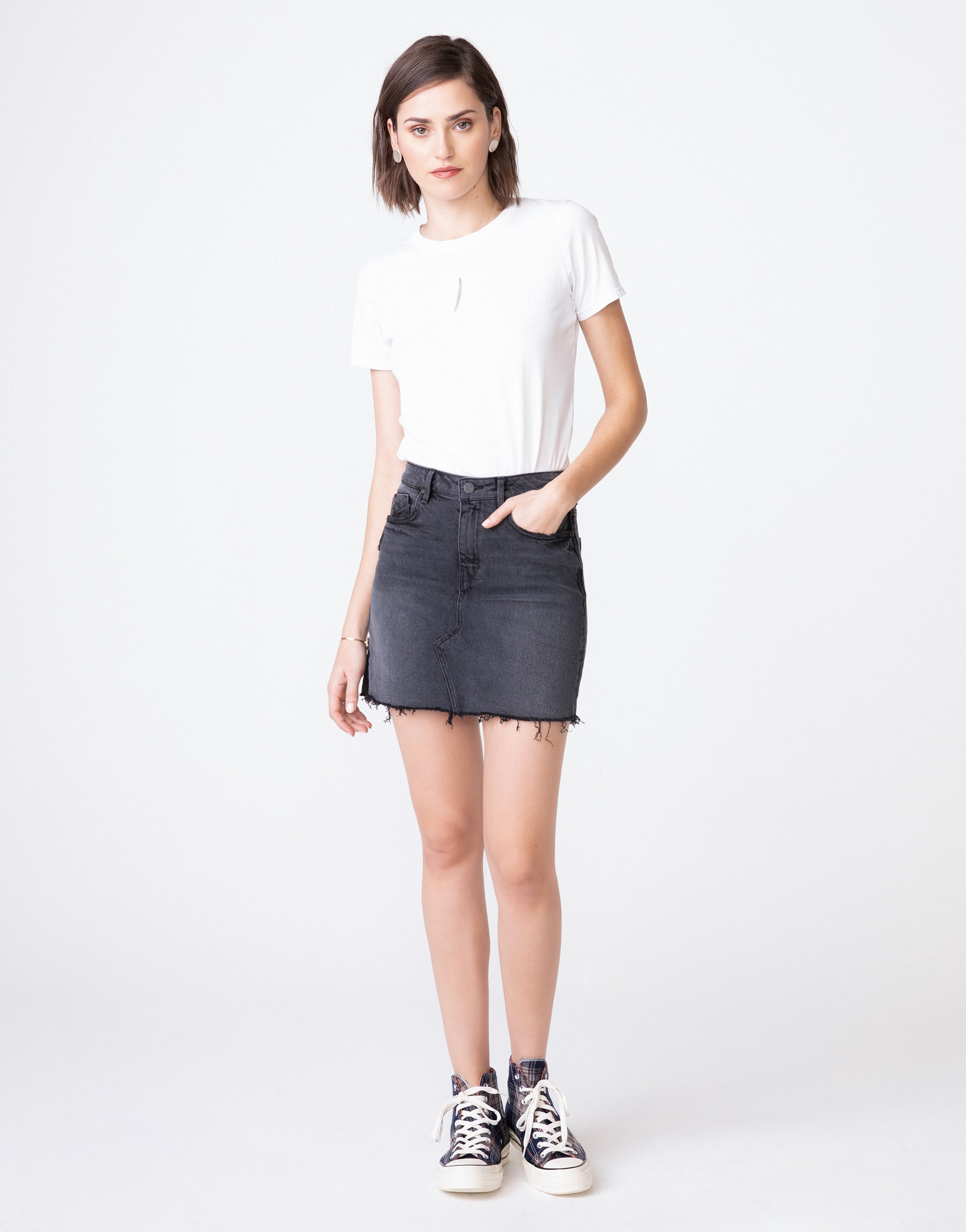 NICO High Waist Mini Skirt in Grunge