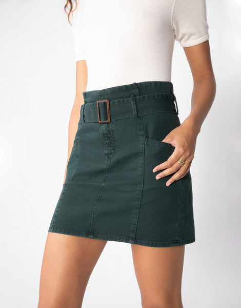 CLARA High Waist Paper Bag Skirt in Evergreen
