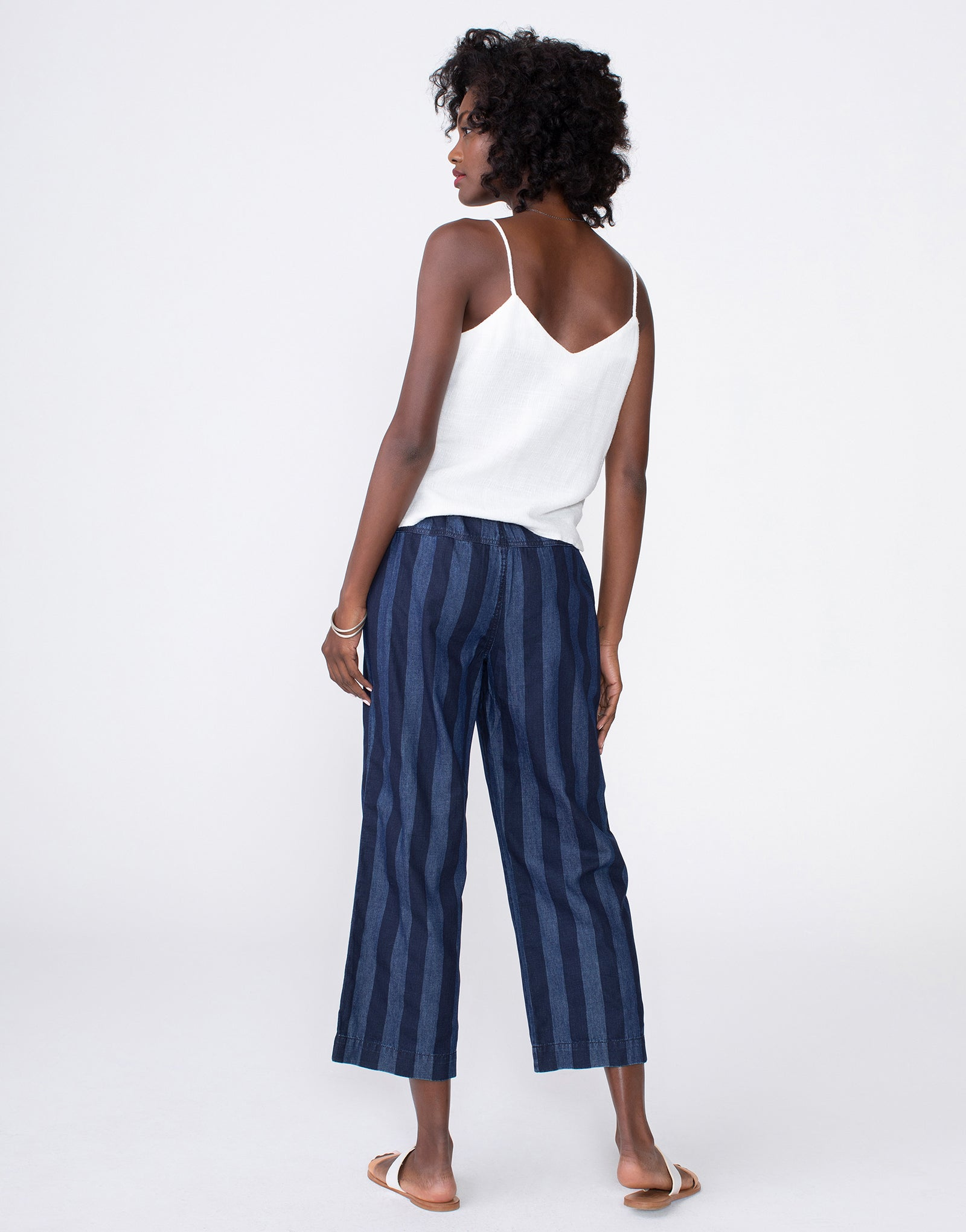 MATILDA Relaxed Beach Pant in Navy Broad Stripe