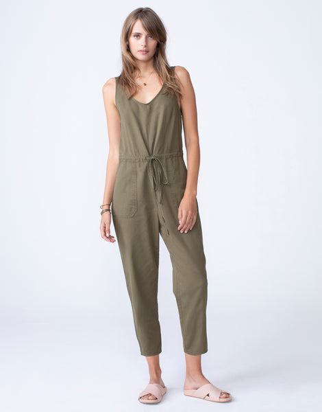 JUSTINE Cropped Utility Jumpsuit in Spruce
