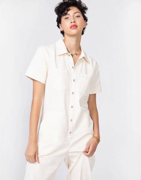 JAMIE Short Sleeve Easy Coverall in Bone
