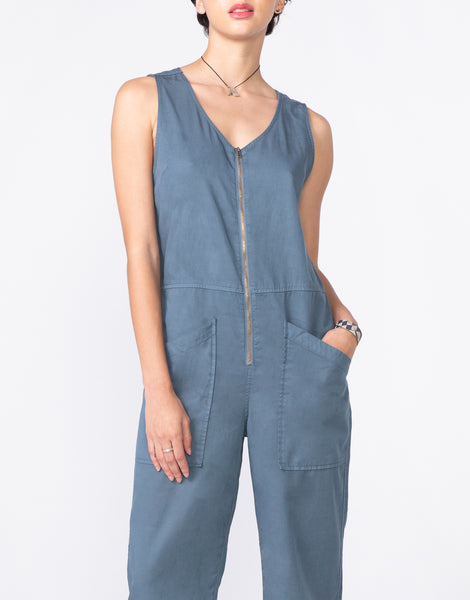 FRANKIE Sleeveless Easy Coverall in Cadet
