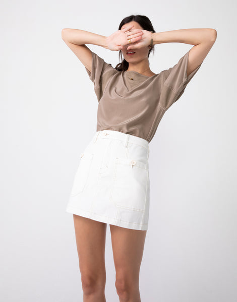 DEMI High Waist Mini Skirt in Vanilla