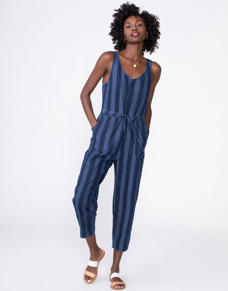 JUSTINE Cropped Utility Jumpsuit in Navy Broad Stripe