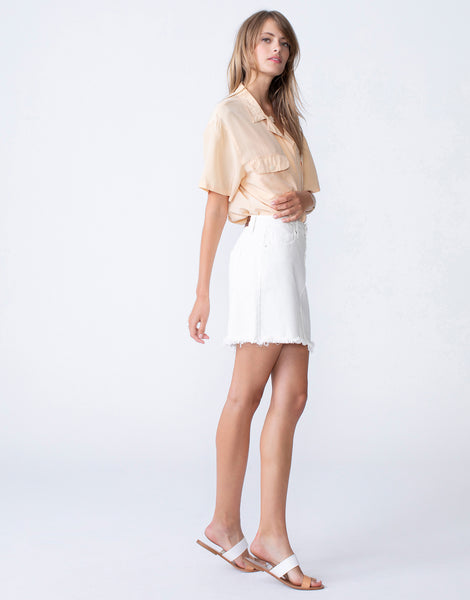NICO High Waist Mini Skirt in Eggshell