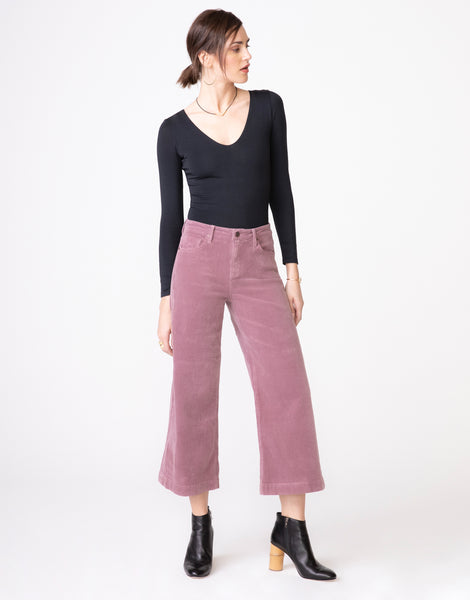 GRETA High Waist Culotte in Thistle Cord