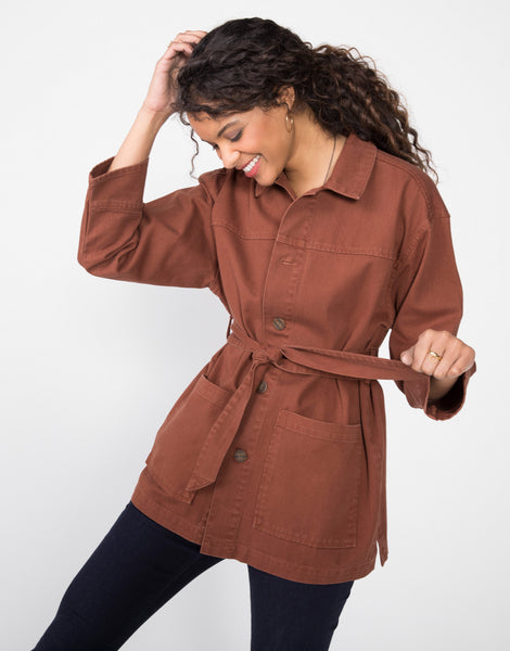 RICKIE Relaxed Belted Chore Jacket in Cocoa