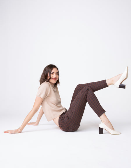 KORA Mid Rise Skinny in Hickory Houndstooth