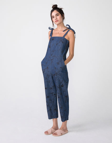 LINA Cropped Jumpsuit in Chambray Sketch