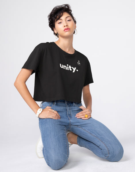 BOWIE Boxy Crop Tee in Unity
