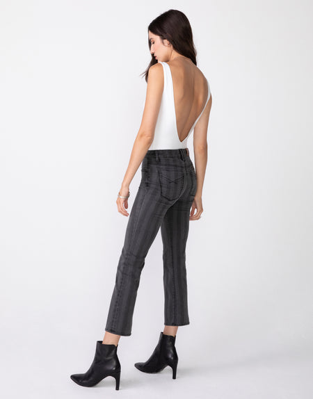 MARGAUX Cropped Demi Flare in Dusk Stripe