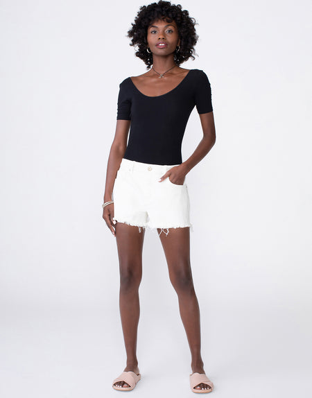 LAINE Boyfriend Short in Eggshell