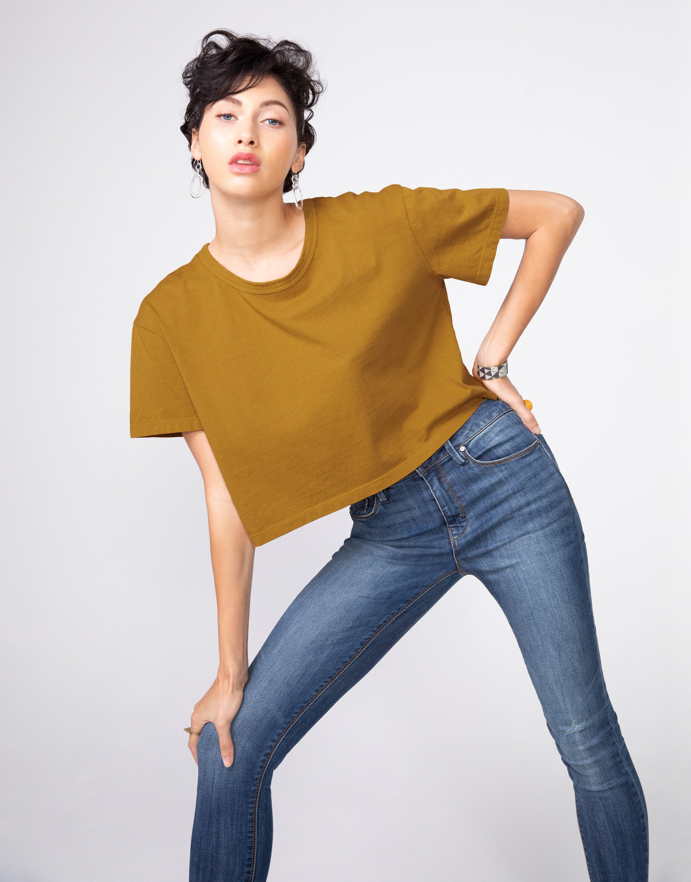 BOWIE Boxy Crop Tee in Butterscotch