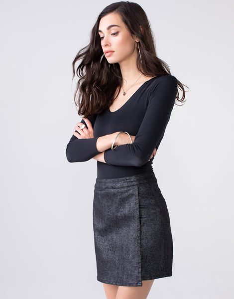 LIZA High Waist Mini Skirt in Herringbone Luxe