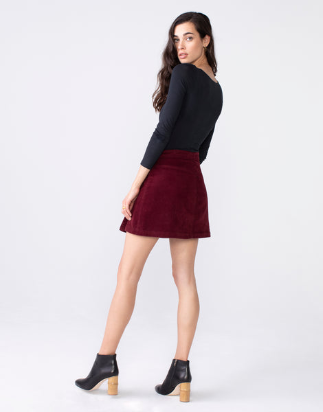 LORI A-Line Wrap Mini Skirt in Garnet Cord