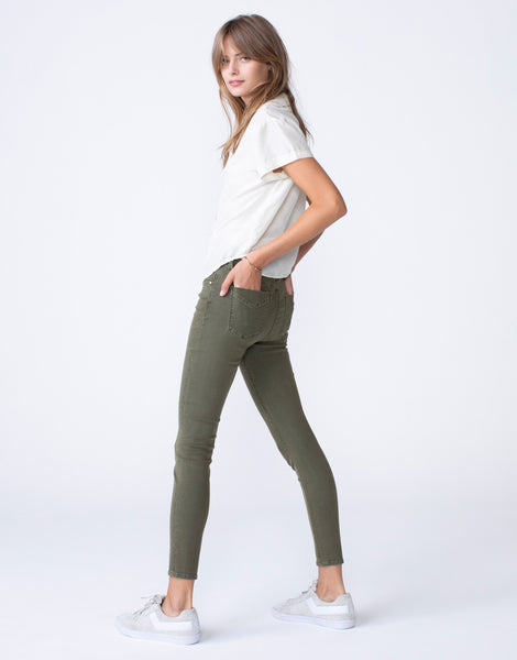 OLIVIA High Rise Skinny in Leaf