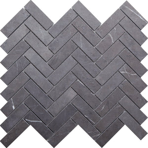 GE01116 Pietra Grey Honed Herringbone Mosaic 64x20x10mm