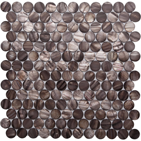Pebbles GE01125 Shell copper penny round mosaic 25mm diameter