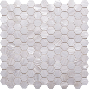 Hex GE01132 Shell Hexagon Mosaic Angel White 25mm Diameter