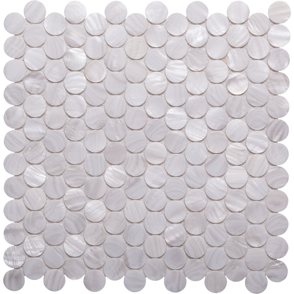 Pebbles GE01134 Shell white penny round mosaic 25mm diameter