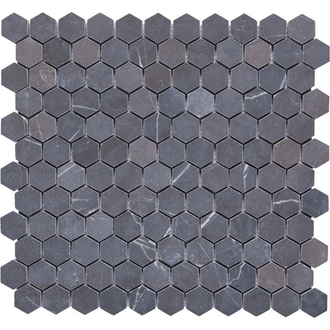 Hex GE01136 Shell Pietra Grey Hexagon Mosaic 25mm Diameter
